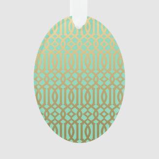 Gold and Mint Modern Trellis Pattern