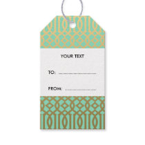 Gold and Mint Modern Trellis Pattern Gift Tags