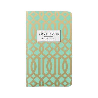 Gold and Mint Modern Trellis Pattern Large Moleskine Notebook