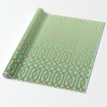 Gold and Mint Modern Trellis Pattern Wrapping Paper