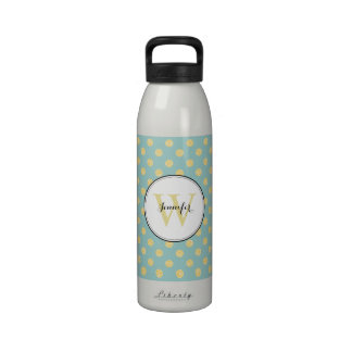 Gold and Mint Polka Dots Pattern Monogrammed Drinking Bottles