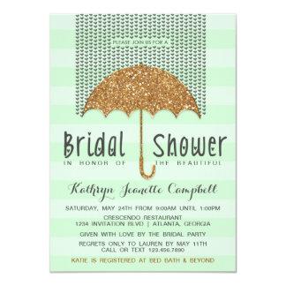 Gold and Mint Umbrella & Hearts Bridal Shower 4.5x6.25 Paper Invitation Card
