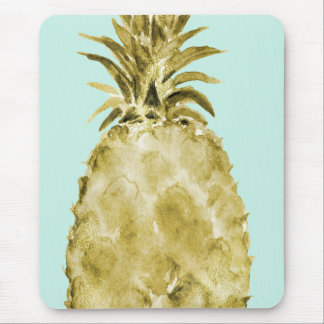 Gold and Mint Watercolor Pineapple Mouse Pad