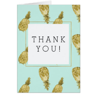 Gold and Mint Watercolor Pineapples Thank You Card