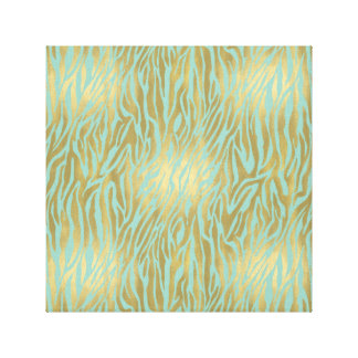 Gold and Mint Zebra Print Canvas Print
