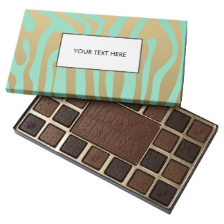 Gold and Mint Zebra Stripes Pattern 45 Piece Box Of Chocolates