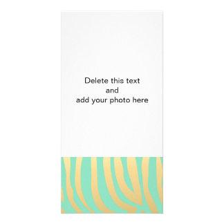 Gold and Mint Zebra Stripes Pattern Card