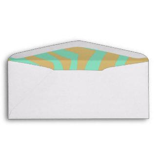Gold and Mint Zebra Stripes Pattern Envelopes