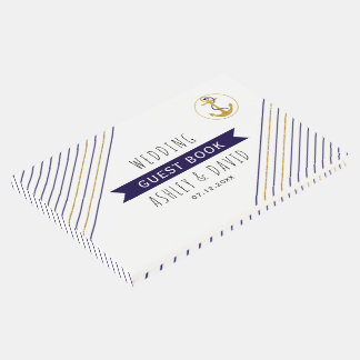 Gold and navy anchor stripes nautical wedding guest book