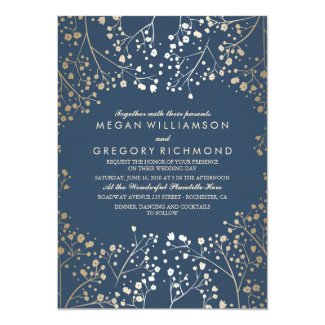 Gold and Navy Blue Baby's Breath Wedding Invitation