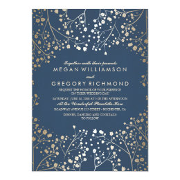 Navy And Gold Wedding Invitations Announcements Zazzle
