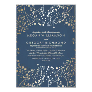 Gold And Navy Baby's Breath Floral Modern Wedding Card at Zazzle