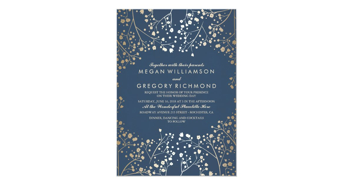 Gold and Navy Baby\'s Breath Floral Modern Wedding Card | Zazzle.com