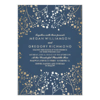 Gold and Navy Baby's Breath Floral Modern Wedding Invitation