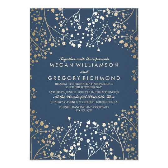 Gold and Navy Babys Breath Floral Modern Wedding Invitation