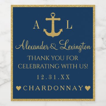 Beach Themed Gold and Navy Blue Anchor Monogram Wedding Wine Label