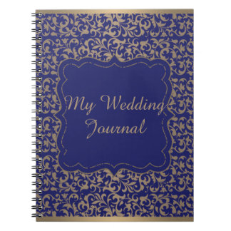Gold and Navy Blue Filigree Floral Wedding Journal
