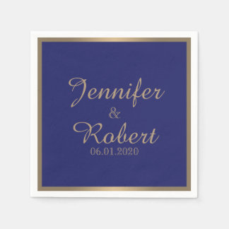 Gold and navy Blue Filigree Wedding Napkin