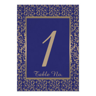 Gold and Navy Blue Filigree Wedding Table Number 5x7 Paper Invitation Card