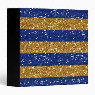 Gold and Navy Blue Glitter Stripes Printed 3 Ring Binder