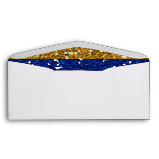 Gold and Navy Blue Glitter Stripes Printed Envelopes