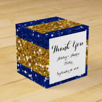 Gold and Navy Blue Glitter Stripes Printed Favor Box