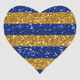 Gold and Navy Blue Glitter Stripes Printed Heart Sticker