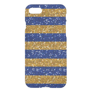 Gold and Navy Blue Glitter Stripes Printed iPhone 7 Case
