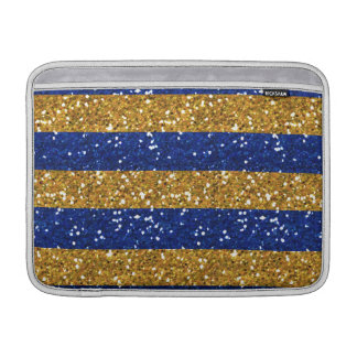 Gold and Navy Blue Glitter Stripes Printed MacBook Sleeve