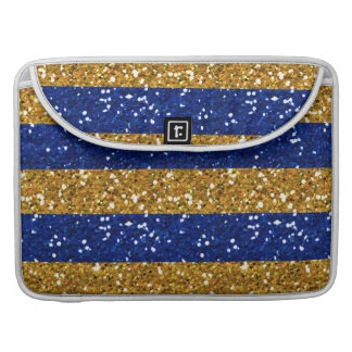 Gold and Navy Blue Glitter Stripes Printed MacBook Pro Sleeves