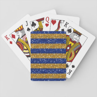 Gold and Navy Blue Glitter Stripes Printed Playing Cards