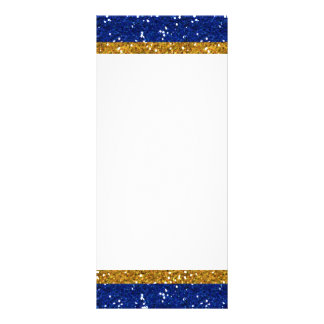 Gold and Navy Blue Glitter Stripes Printed Rack Card