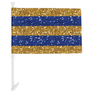 Gold and Navy Blue Glitter Stripes Printed Car Flag