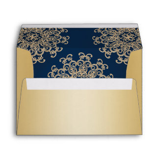 Gold and  Navy Blue Indian Style Envelope