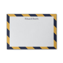 Gold and Navy Blue Stripes Personalized Post-it Notes