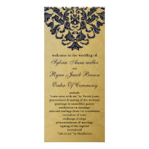 "gold and ""navy blue"" Wedding program"
