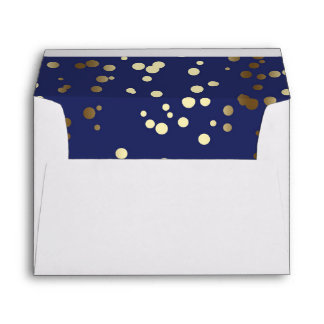 Gold and Navy Confetti Dots Elegant Wedding Envelope
