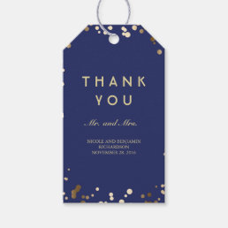 Gold and Navy Confetti Elegant Wedding Gift Tags