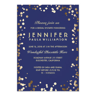 Gold and Navy Confetti Vintage Bridal Shower Card