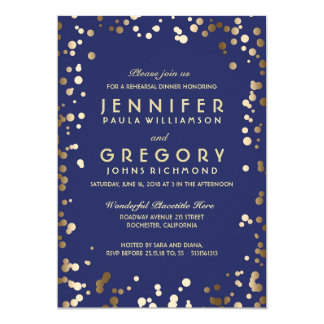 Gold and Navy Confetti Vintage Rehearsal Dinner Card
