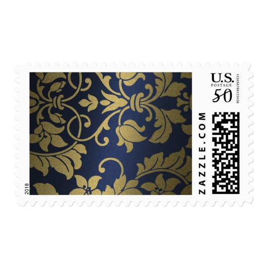 Gold and Navy Damask Brocade Baroque Postage