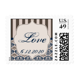 Gold and Navy Damask Wedding Postage