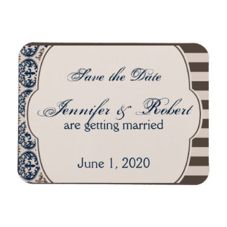 Gold and Navy Damask Wedding Save the Date Flexible Magnet