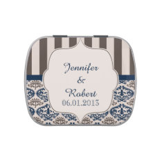 Gold and Navy Damask Wedding Tins Jelly Belly Candy Tins at Zazzle