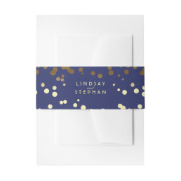 Gold and Navy Elegant Confetti Dots Wedding Invitation Belly Band