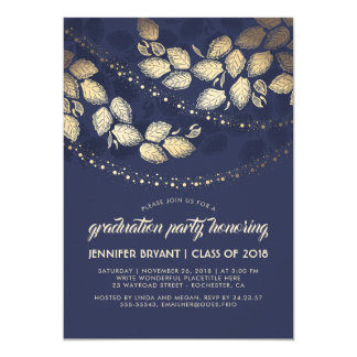 Gold and Navy Elegant Tree Lights Graduation Party Card