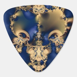Gold and Navy Fractal Guitar Pick