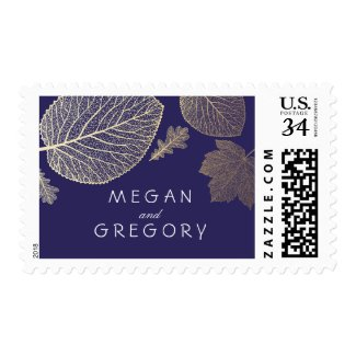 Gold and Navy Leaves Fall Wedding Postage Stamps at UniqueRusticWeddingInvitations.com