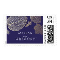 Gold and Navy Leaves Fall Wedding Postage