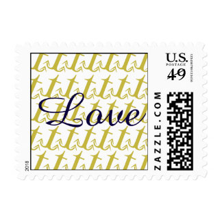 Gold and Navy Nautical Anchor Beach Wedding Stamp